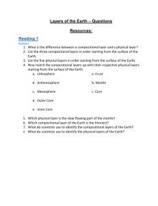 Layers of Earth Study Guide Questions