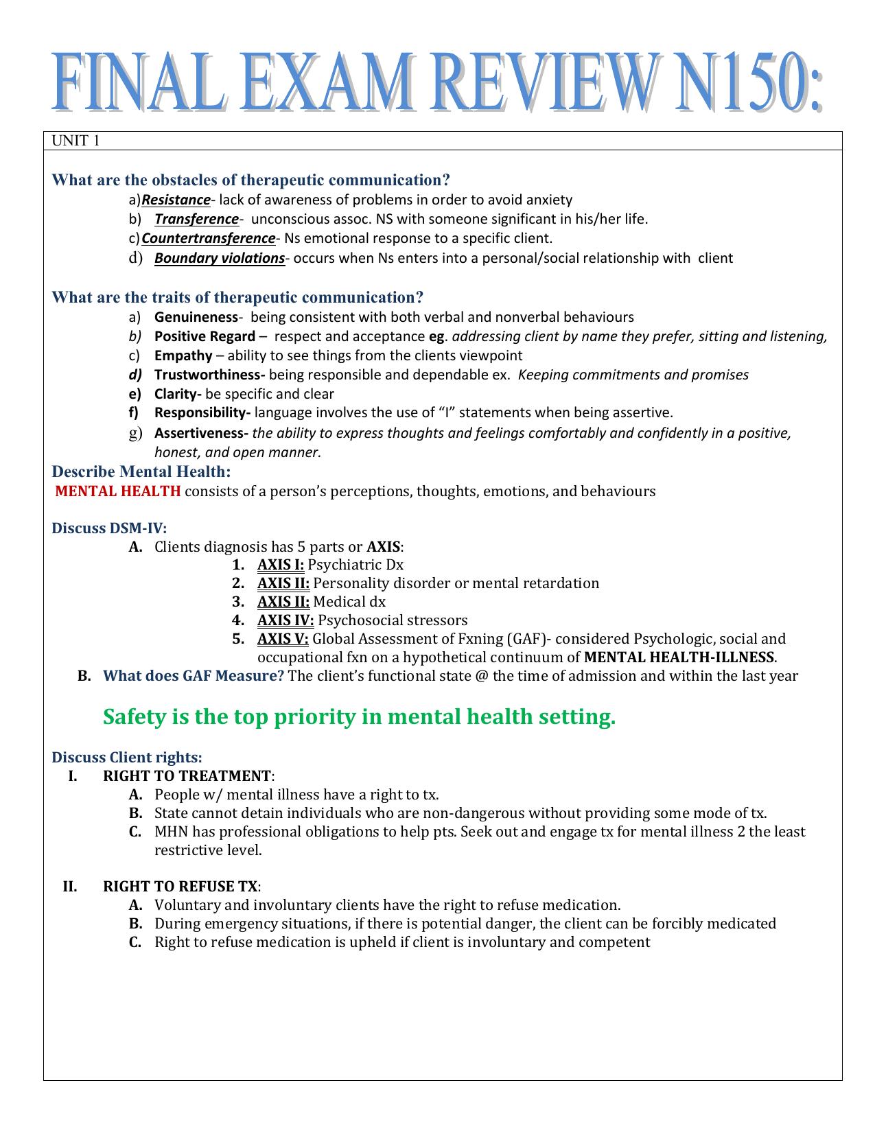 ATI Mental Health Nursing notes
