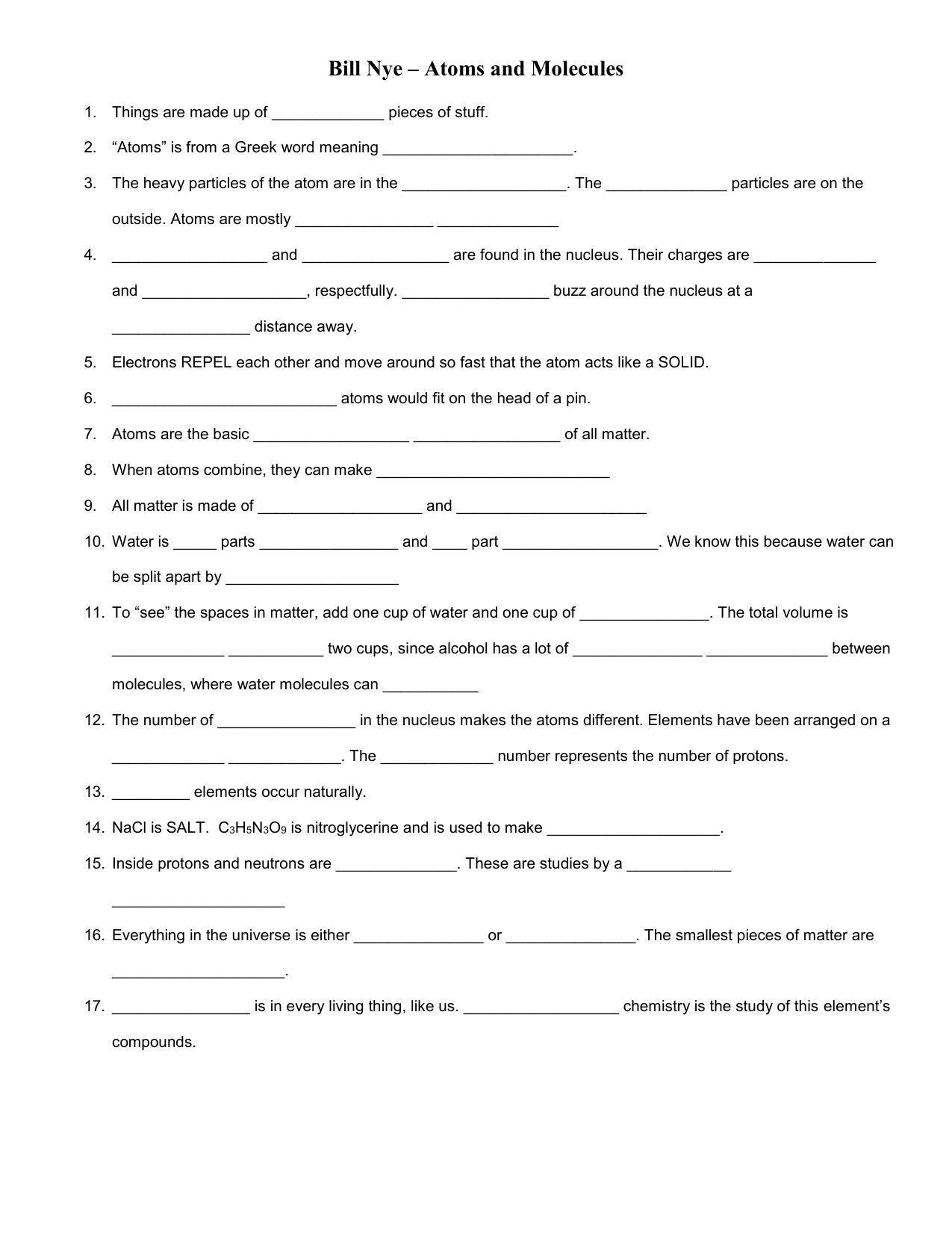 bill nye – atoms and molecules video worksheet