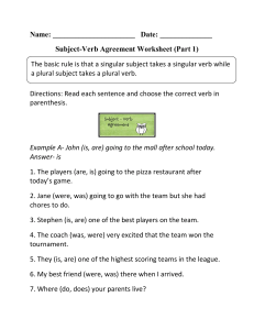 Subject Verb Agreement (1)