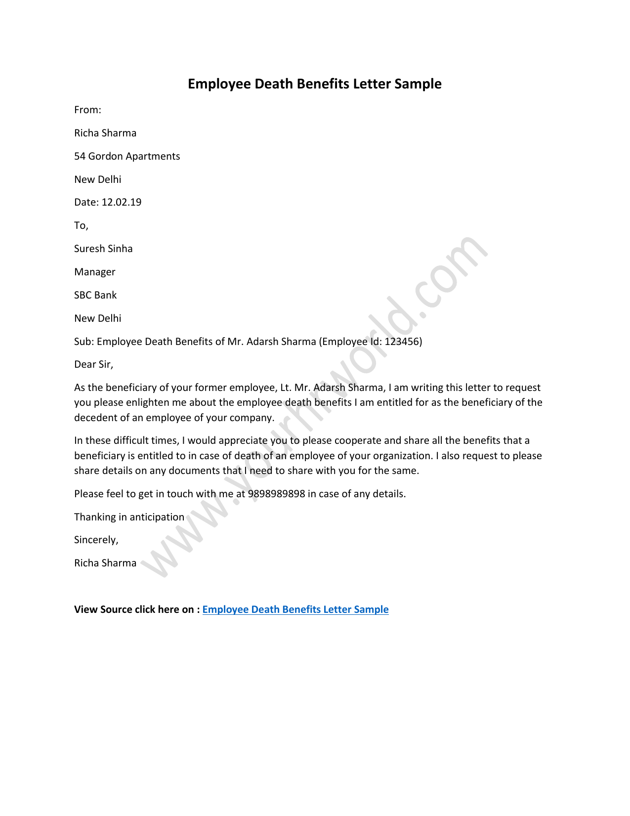 Employee Death Benefits Letter Template, Sample