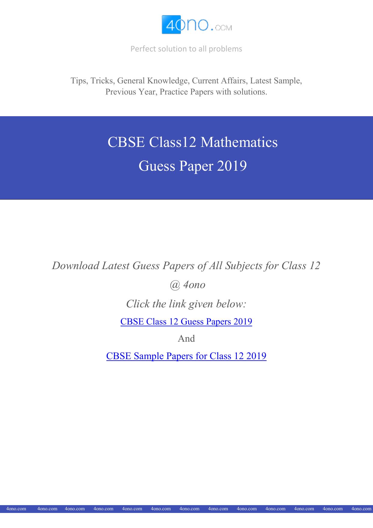 CBSE Class 12 Maths Guess Paper 2019 PDF Download