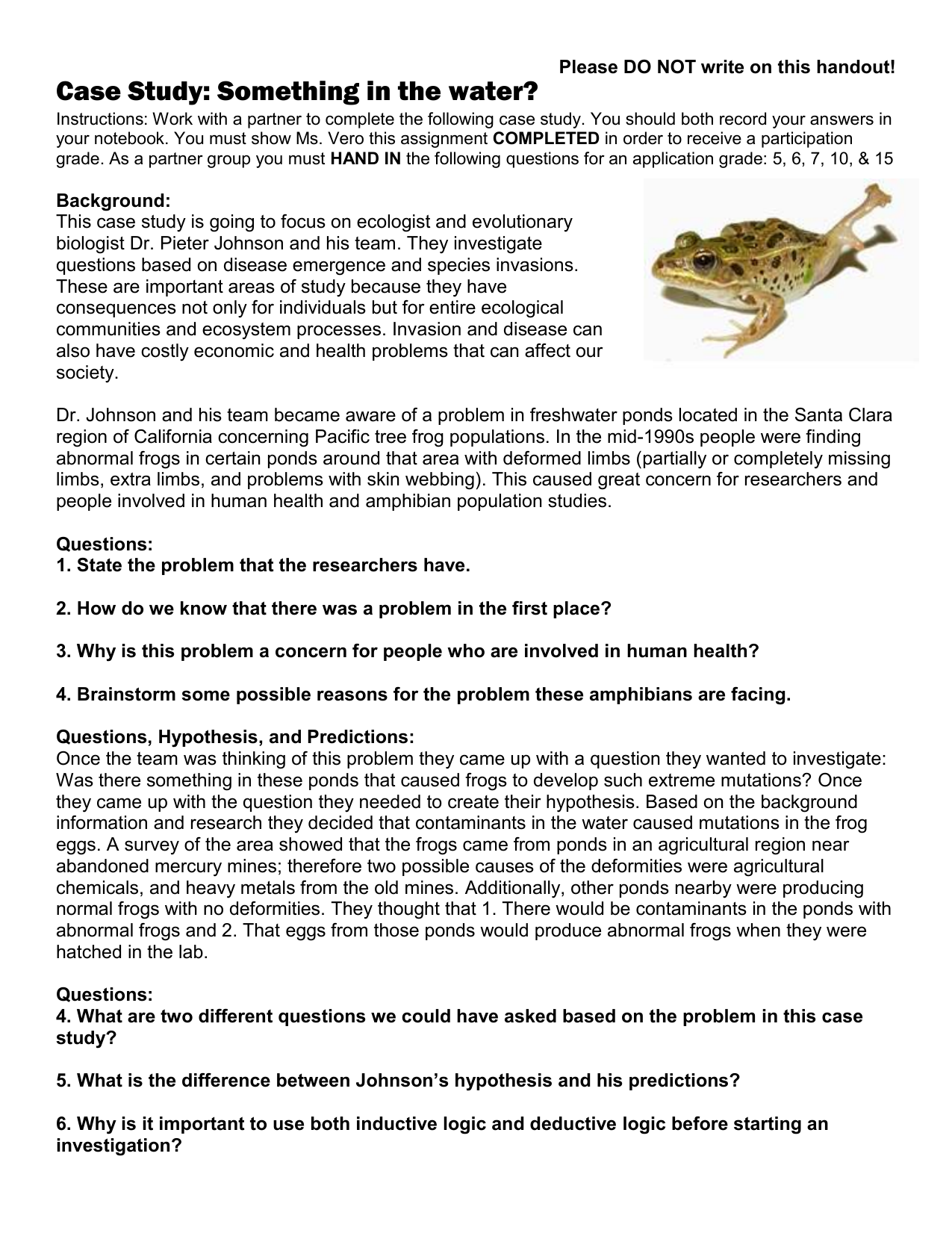 Case Study Abnormal Frogs