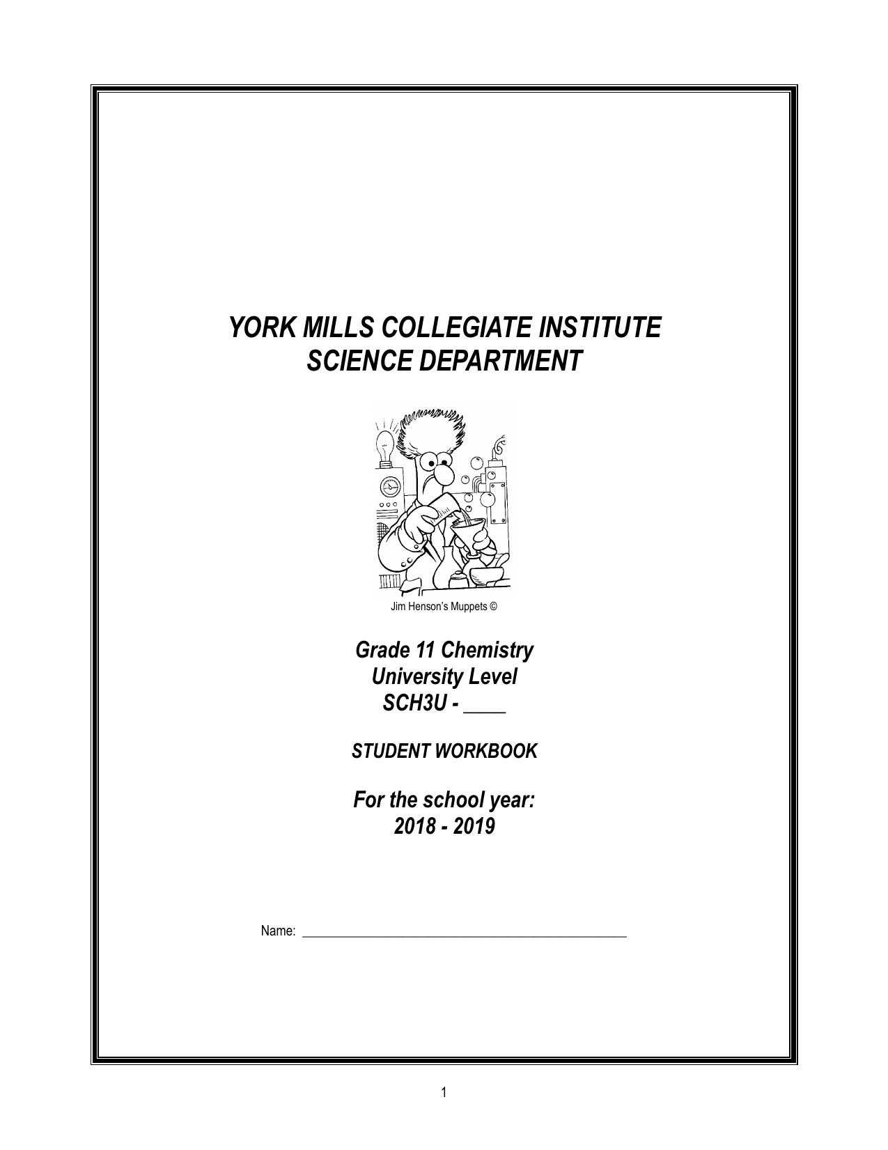 SCH3U Student Workbook 1819