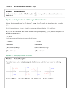 Rational Functions and Their Graphs Notes (Unfilled) (4.6) (6 Pages)