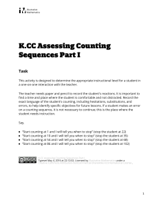 K.CC.A.1 Assessing Counting Sequences Part I