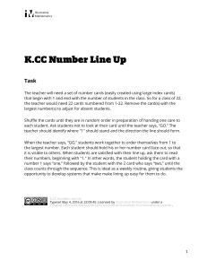 K.CC.A.2 Number Line Up