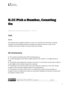 K.CC.A.2 Pick a Number  Counting On