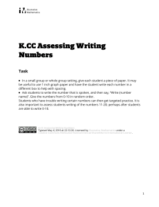 K.CC.A.3 Assessing Writing Numbers