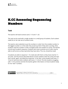 K.CC.A Assessing Sequencing Numbers