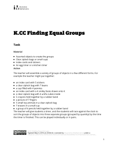 K.CC.B.5 Finding Equal Groups