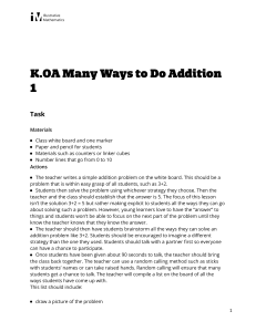 K.OA.A.5 Many Ways to Do Addition 1