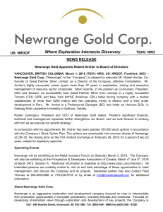 Newrange Gold Crop News Release March 1 2018