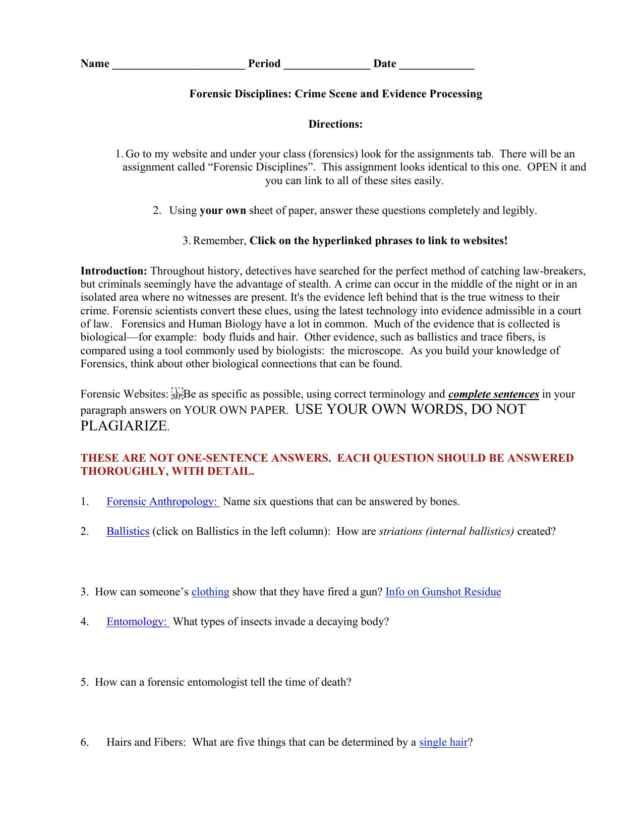 Forensic Disciplines Webquest-0