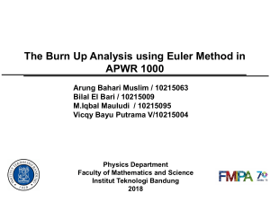 Burnup Analysis using Euler Method in APWR 1000