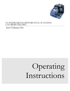 DSC Operating Instructions