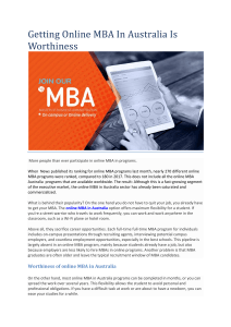 Getting Online MBA In Australia Is worthiness