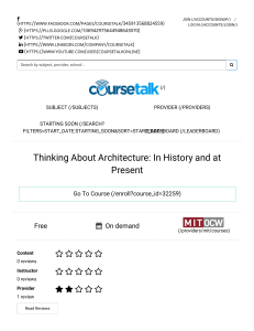 Thinking About Architecture  In History and at Present by  MIT - online course reviews and ratings   CourseTalk