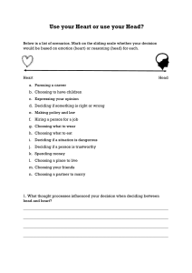 Emotion vs Reasoning TOK worksheet
