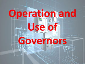 Operation and Use of Governors