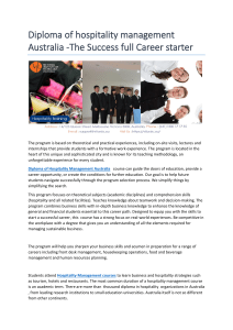 diploma of hospitality management Australia