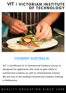 Commercial Cookery course Sydney