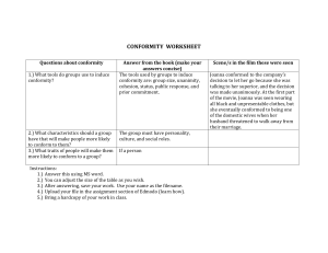 Conformity Worksheet