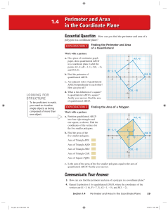 Lesson 1.4 Perimeter and Area in the Coordinate Plane