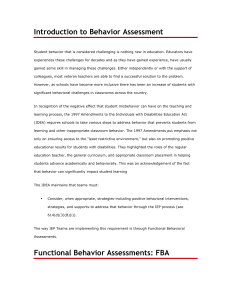 Introduction to Behavior Assessment