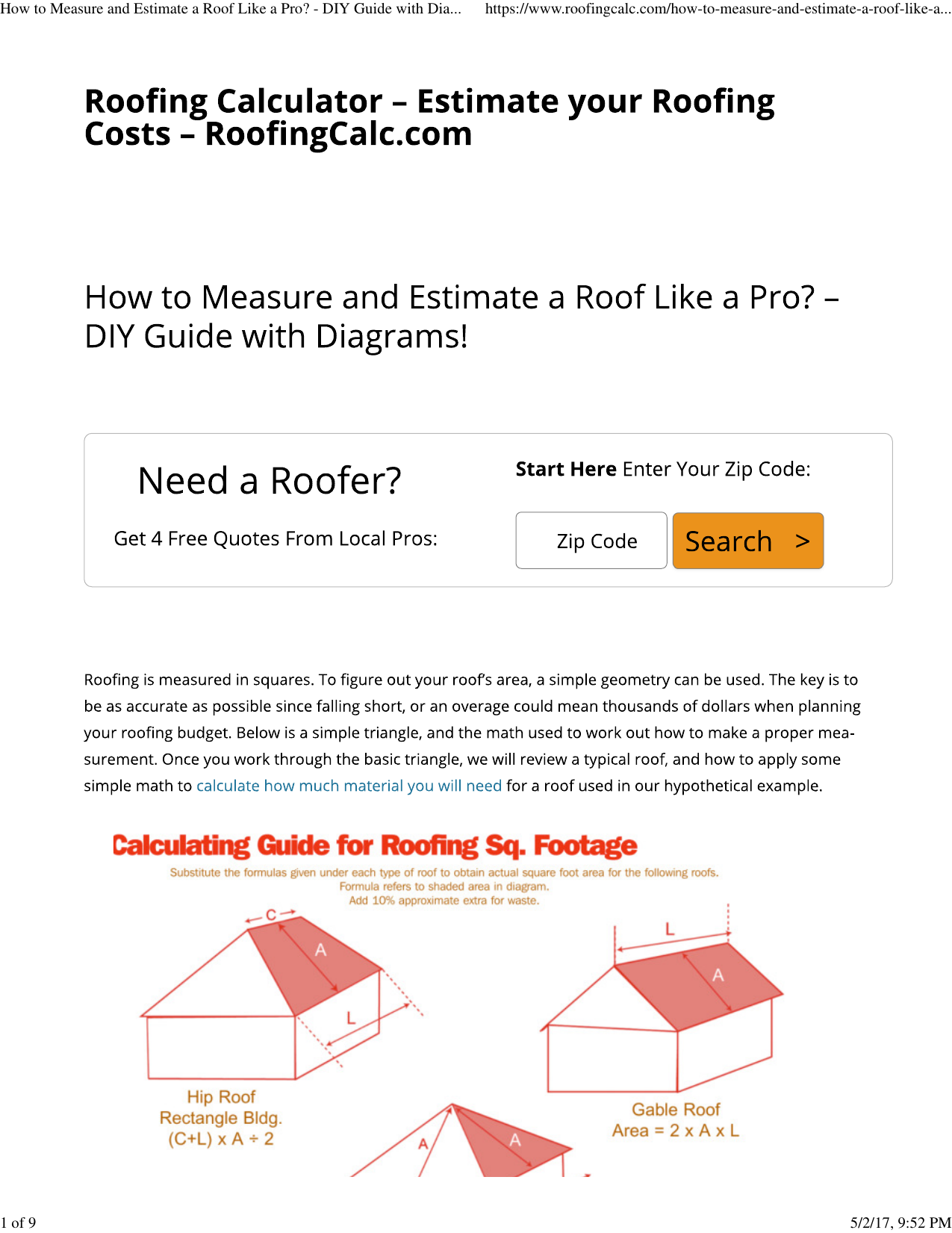 Roofing Calculator Estimate Your Roofing Costs Wiring Diagram