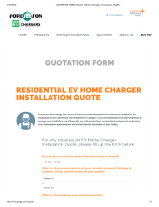 QUOTATION FORM   Electric Vehicle Charging - Foreseeson PlugEV