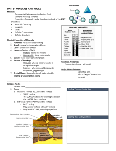 Rocks and Minerals Review Sheet