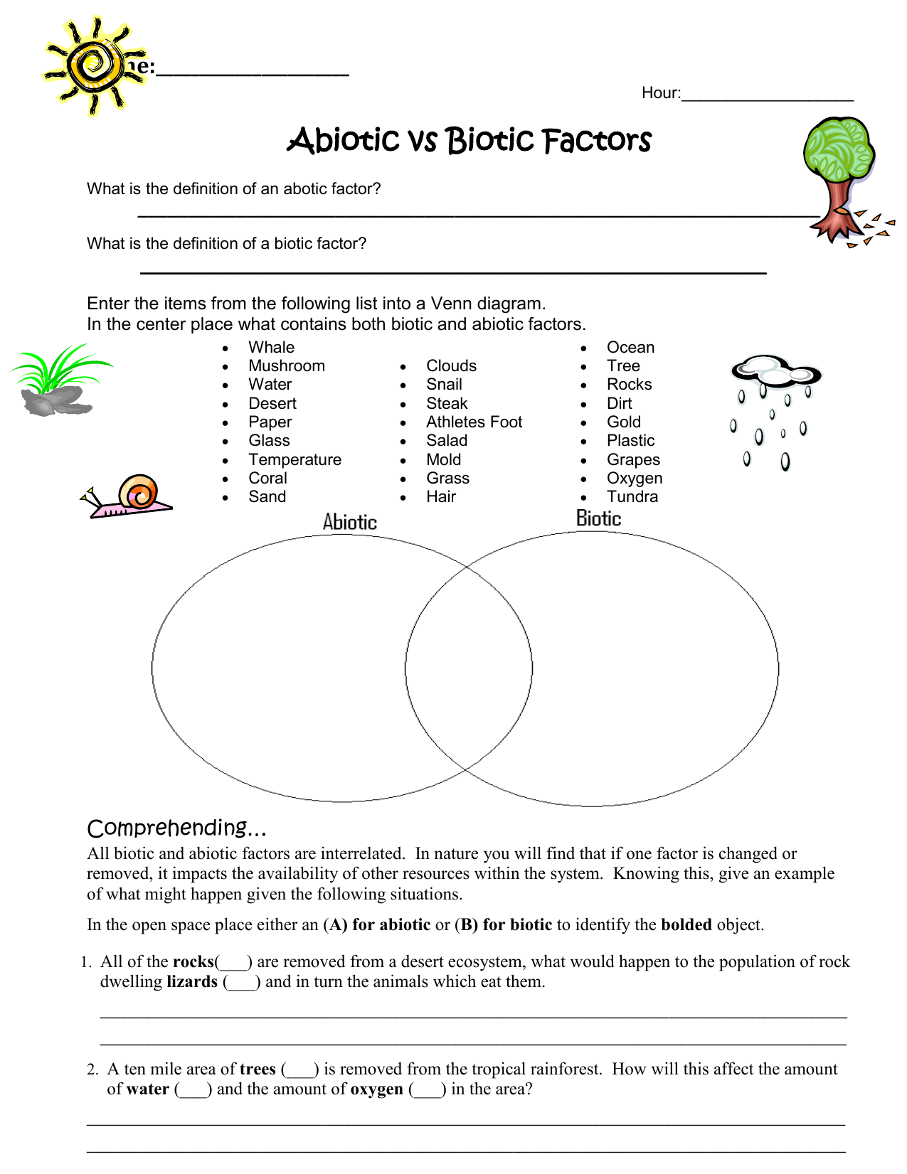 Abiotic vs Biotic Factors Worksheet
