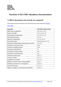 Checklist of ISO 27001 Mandatory Documentation