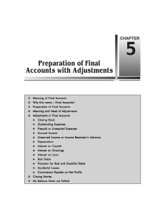 Chapter 5 Preparation of Final Accounts