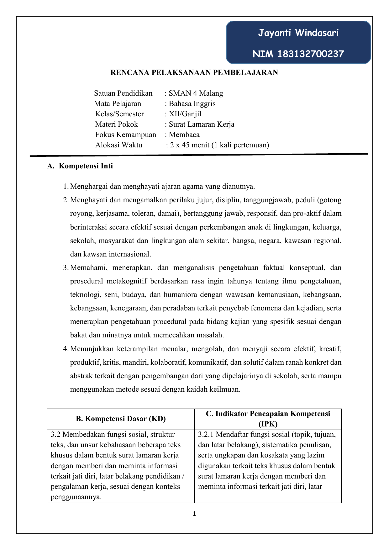 Rencana Pelaksanaan Pembelajaran 32 Dan 42docx