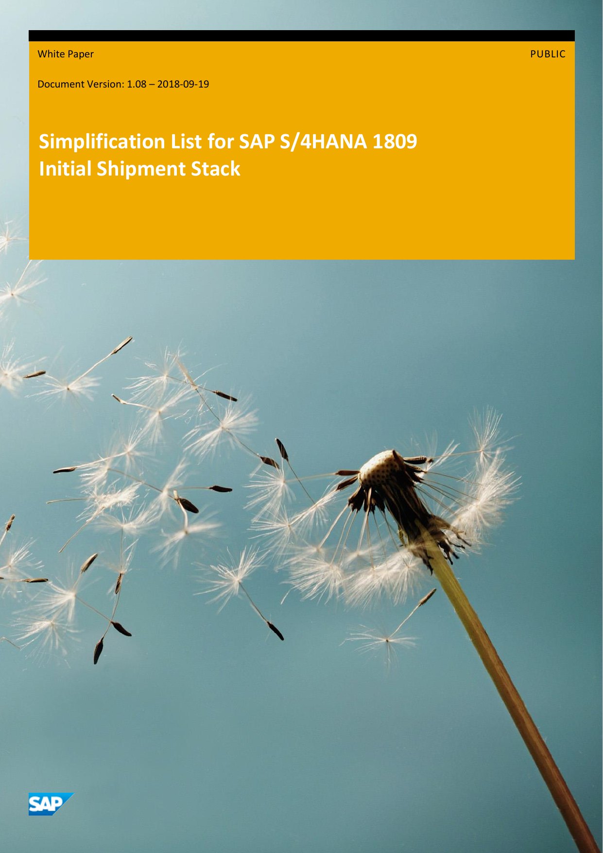 SIMPL OP1809 SAP Simplification list On Premise