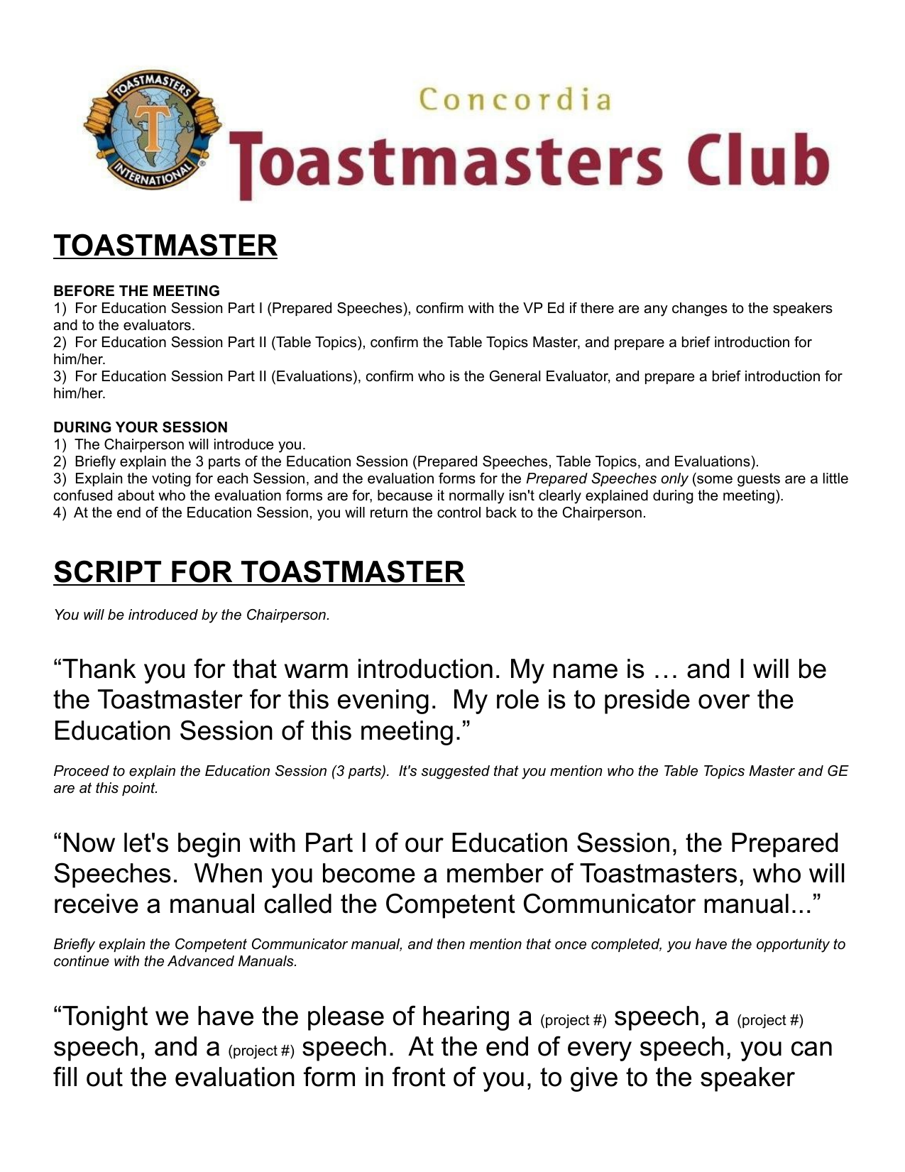 Toastmaster Worksheet 2
