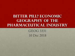 Bitter pill? Economic geogrpahy of the pharmaceutical industry
