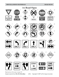 ALL - Intermediate - Traffic Signs handouts