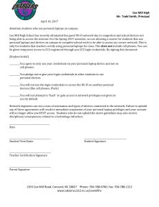 Student Personal Laptop Contract