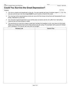 Great Depression Survival Handout