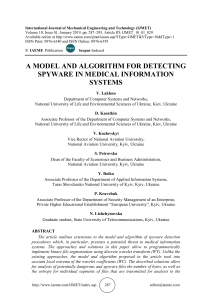 A MODEL AND ALGORITHM FOR DETECTING SPYWARE IN MEDICAL INFORMATION SYSTEMS