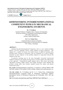 ADMINISTERING INTERDENOMINATIONAL COMPETENT PUPILS IN MECHANICAL ENGINEERING STUDENTS