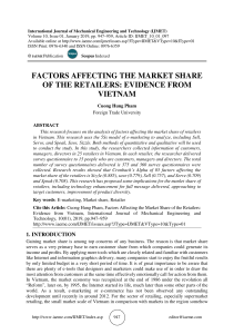 FACTORS AFFECTING THE MARKET SHARE OF THE RETAILERS: EVIDENCE FROM VIETNAM