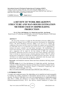 A REVIEW OF WORK BREAKDOWN STRUCTURE AND MAN-HOURS ESTIMATION METHOD USED IN SHIPBUILDING PRODUCTION