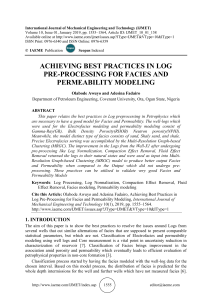 ACHIEVING BEST PRACTICES IN LOG PRE-PROCESSING FOR FACIES AND PERMEABILITY MODELING