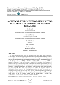 A CRITICAL EVALUATION OF GEN-Y BUYING BEHAVIOR TOWARDS ONLINE FASHION RETAILERS