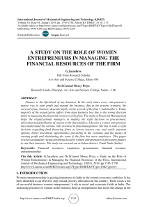 A STUDY ON THE ROLE OF WOMEN ENTREPRENEURS IN MANAGING THE FINANCIAL RESOURCES OF THE FIRM