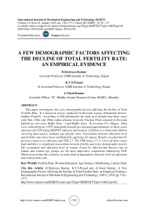 A FEW DEMOGRAPHIC FACTORS AFFECTING THE DECLINE OF TOTAL FERTILITY RATE: AN EMPIRICAL EVIDENCE